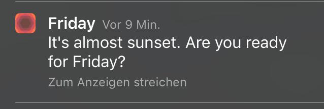 Friday App - Sonnenuntergang