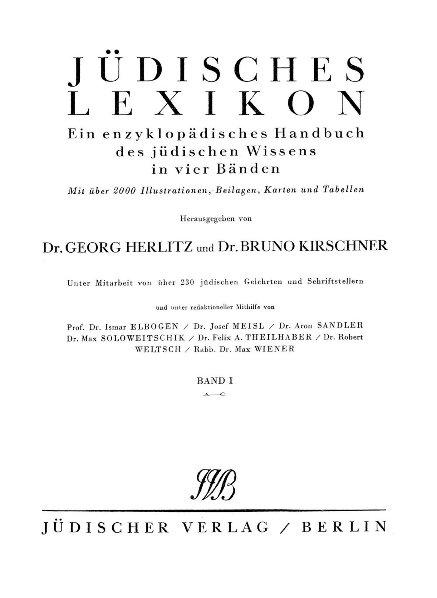 Jüdisches Lexikon von Georg Herlitz