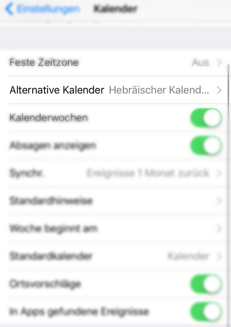 Einstellungen > Kalender > Alternative Kalender