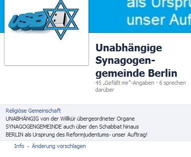 Facebook-Seite der Unabhängigen Synagogengemeinde