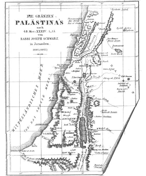 Die Grenzen Palästinas nach Rabbiner Joseph Schwarz