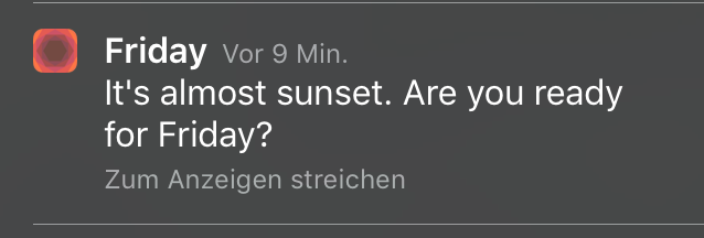 Friday App - Sonnenuntergang