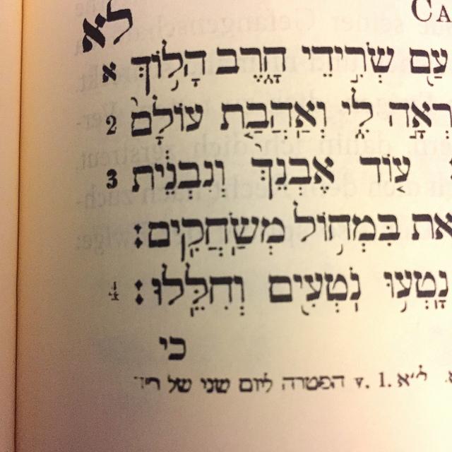 Hebräische Fußnote in der Herder-Ausgabe des Propheten-Buches